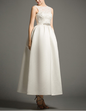 Graceful Beaded Appliques Tea Length Satin Reception Wedding Dresses