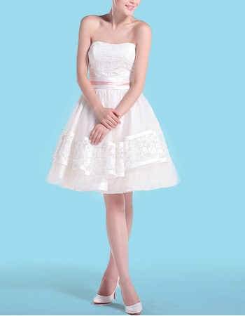 Perfect Strapless Short Tulle Wedding Dresses with Lace Bodice