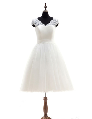 A-Line V-Neck Cap Sleeves Knee Length Wedding Dresses