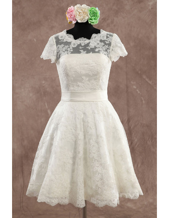 Discount A-Line Knee Length Lace Appliques Wedding Dresses with Short Sleeves