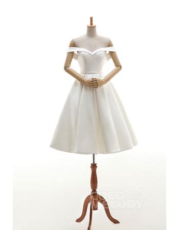 Simple Ivory Off-the-shoulder Knee Length Satin Wedding Dresses