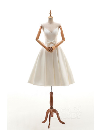 Unique Ivory Knee Length Satin Wedding Dresses with Pleated Skirt