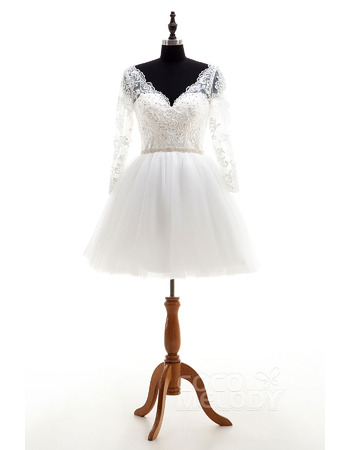 Simple Beaded Ivory V-Neck Short Wedding Dresses with Long Sleeves