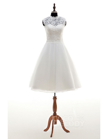 Simple Ivory A-Line Crew Neck Knee Length Lace Wedding Dresses