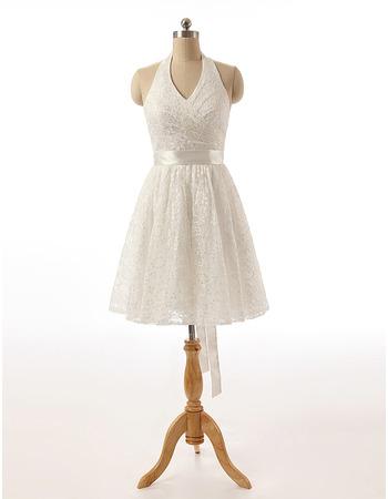 Elegant Ivory Halter-neck Knee Length Lace Wedding Dresses with Belt