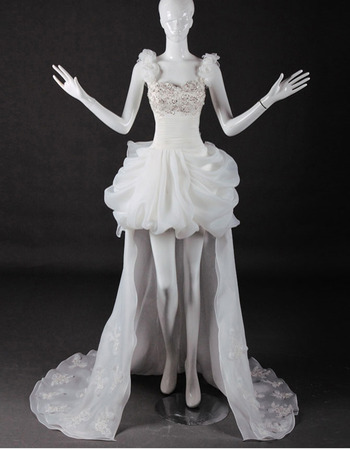 Beautiful Crystal Beading High-Low Organza Wedding Dresses with Floral Straps and Pick-UP Skirt