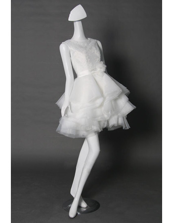 Perfect Ivory Sleeveless Short Wedding Dresses with Breathtaking Layered Tull Skirt