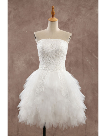 Perfect Ivory Strapless Short Wedding Dresses with Breathtaking Ruffle Layered Tulle Skirt