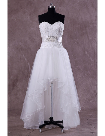 Graceful Appliques Bodice High-Low Tulle Wedding Dresses with Crystal Beading Waist