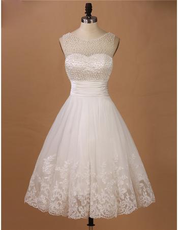 Elegantly A-Line Illusion Neckline Knee Length Wedding Dresses with Beaded Bodice