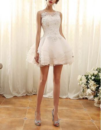 Charming Sleeveless Mini/ Short Layered Skirt Wedding Dresses/ Lovely Illusion Neckline Organza Bride Gowns