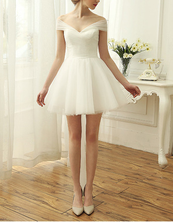 Simple Off-the-shoulder Short Tulle Wedding Dresses with Ruched Bodice