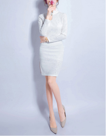 Discount Sheath High-Neck Lace Wedding Dress with Keyhole and Long Sleeves