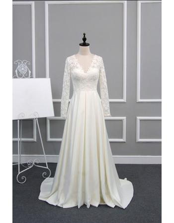 Dramatic Illusion Back V Neck Lace Bodice Wedding Dresses With Long Sleeves Us 169 99 Buybuystyle Com