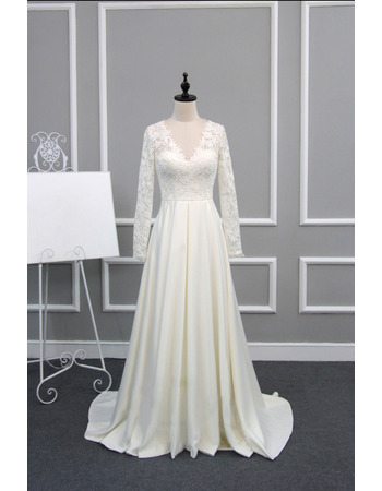 Dramatic Illusion Back V-Neck Lace Bodice Wedding Dresses with Long Sleeves