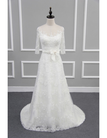 Graceful Illusion Neckline Lace Wedding Dresses with 3/4 Long Sleeves
