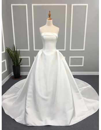 Simple Ball Gown Strapless Ivory Satin Wedding Dresses with Pleated Skirt