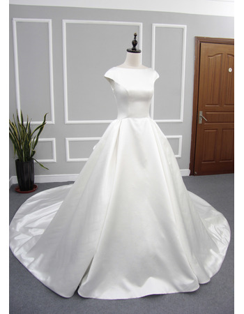 Simple Ball Gown Cap Sleeves Pleated Satin Wedding Dresses with Plunging Scoop Back
