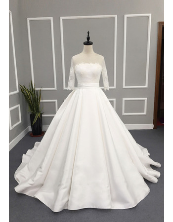 Elegant Ball Gown Satin Wedding Dresses with Sleeves and Beading Lace Appliques Detail