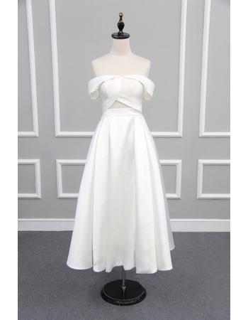 Simple Off-the-shoulder Tea Length Satin Reception Wedding Dresses