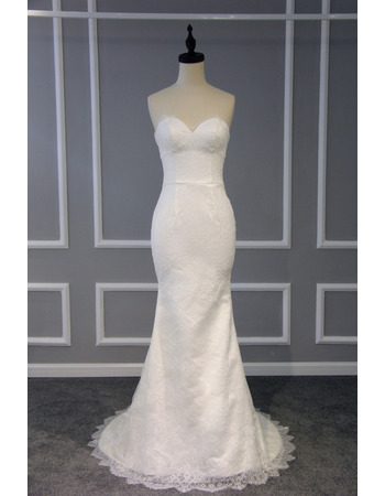 Sexy and Simple Sheath Sweetheart Sleeveless Lace Wedding Dresses