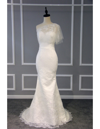 Sheath One Shoulder Sweep Train Lace Wedding Dresses