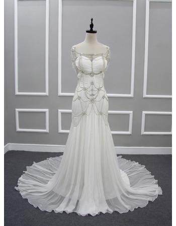 Custom Sweetheart Chapel Train Chiffon Wedding Dresses with Beads
