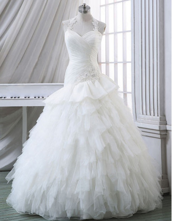 Romantic Halter-neck Sweetheart Tulle Wedding Dresses with Breathtaking Layered Skirt