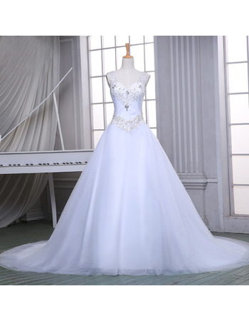 Beautiful A-Line V-Neck Tulle Over Satin Wedding Dresses with Beaded Appliques Bodice