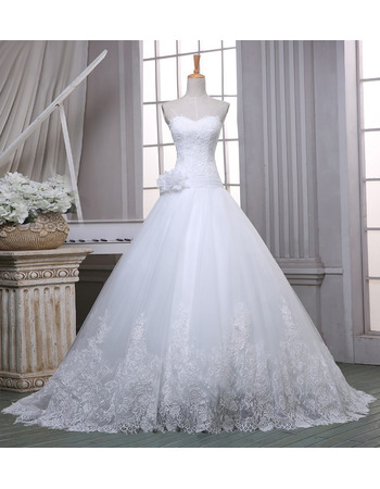 Beautiful Ball Gown Sweetheart Tulle Wedding Dresses with Floral Applique