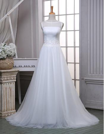 Elegant A-Line Bateau Sleeveless Sweep Train Organza Wedding Dresses