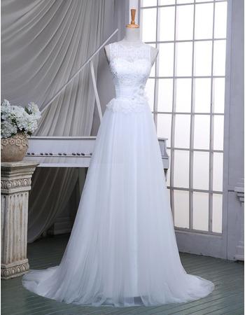 Elegant A-Line Illusion Neckline Sleeveless Tulle Wedding Dresses with Appliques Waist