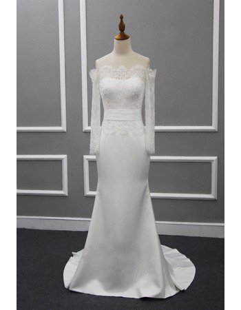 Delicate Off-the-shoudler Satin Wedding Dresses with Beaded Lace Bodice and Long Sleeves