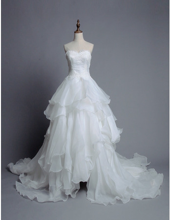 Romantic Ball Gown Sweetheart Organza Wedding Dress with Breathtaking Layered Skirt