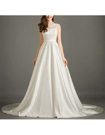 Elegant Illusion Neckline Sleeveless Satin Wedding Dresses with Applique Bodice