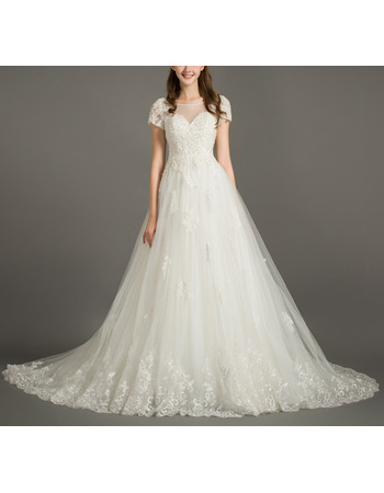 Court Train Tulle Embroidery Wedding Dresses with Short Sleeves