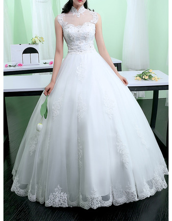 Classy Ball Gown High Neckline Floor Length Tulle Wedding Dresses with Beaded Appliques