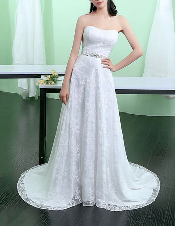Discount Strapless Sleeveless Lace Wedding Dresses with Beaded Detail