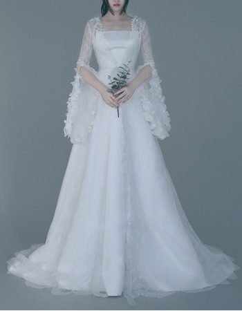 Strapless Sweep Train Wedding Dresses with Lace Sleeves