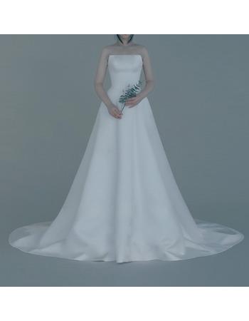 Simple A-Line Strapless Sleeveless Floor Length Satin Wedding Dresses