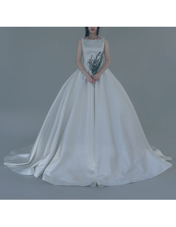 Sexy and Simple Ball Gown Bateau Neck Court Train Satin Wedding Dresses