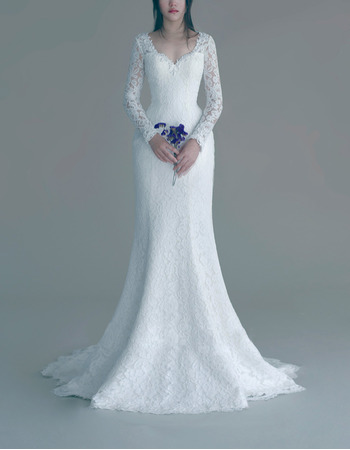 Simple and Sexy Sheath Lace Wedding Dresses with Long Sleeves and Illusion Back