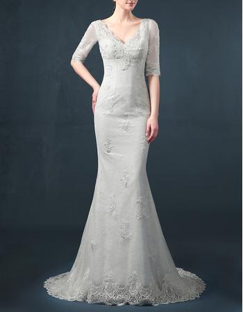 Affordable Sheath V-Neck Organza Wedding Dresses with Half Sleeves