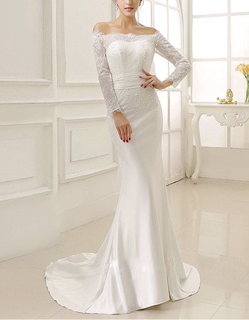 Sexy Sheath Off-the-shoulder Satin Wedding Dresses with Long Sleeves