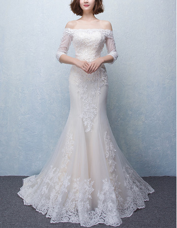 Trumpet Off-the-shoulder Wedding Dresses with 3/4 Long Sleeves