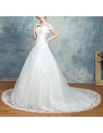 Discount Off-the-shoulder Chapel Train Organza Wedding Dresses