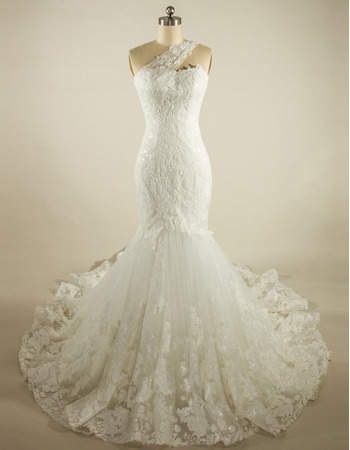 Classy Mermaid One Shoulder Court Train Lace Wedding Dresses with Sequined