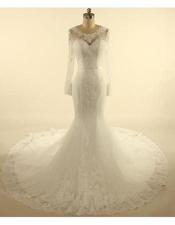 Custom V-back Court Train Tulle Wedding Dresses with Long Sleeves