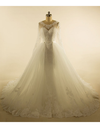 Discount Appliques V-back Tulle Wedding Dresses with Removable Skirt