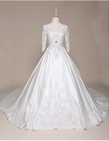 Luxury Crystal Beading Appliques Ball Gown Satin Wedding Dresses with 3/4 Long Sleeves